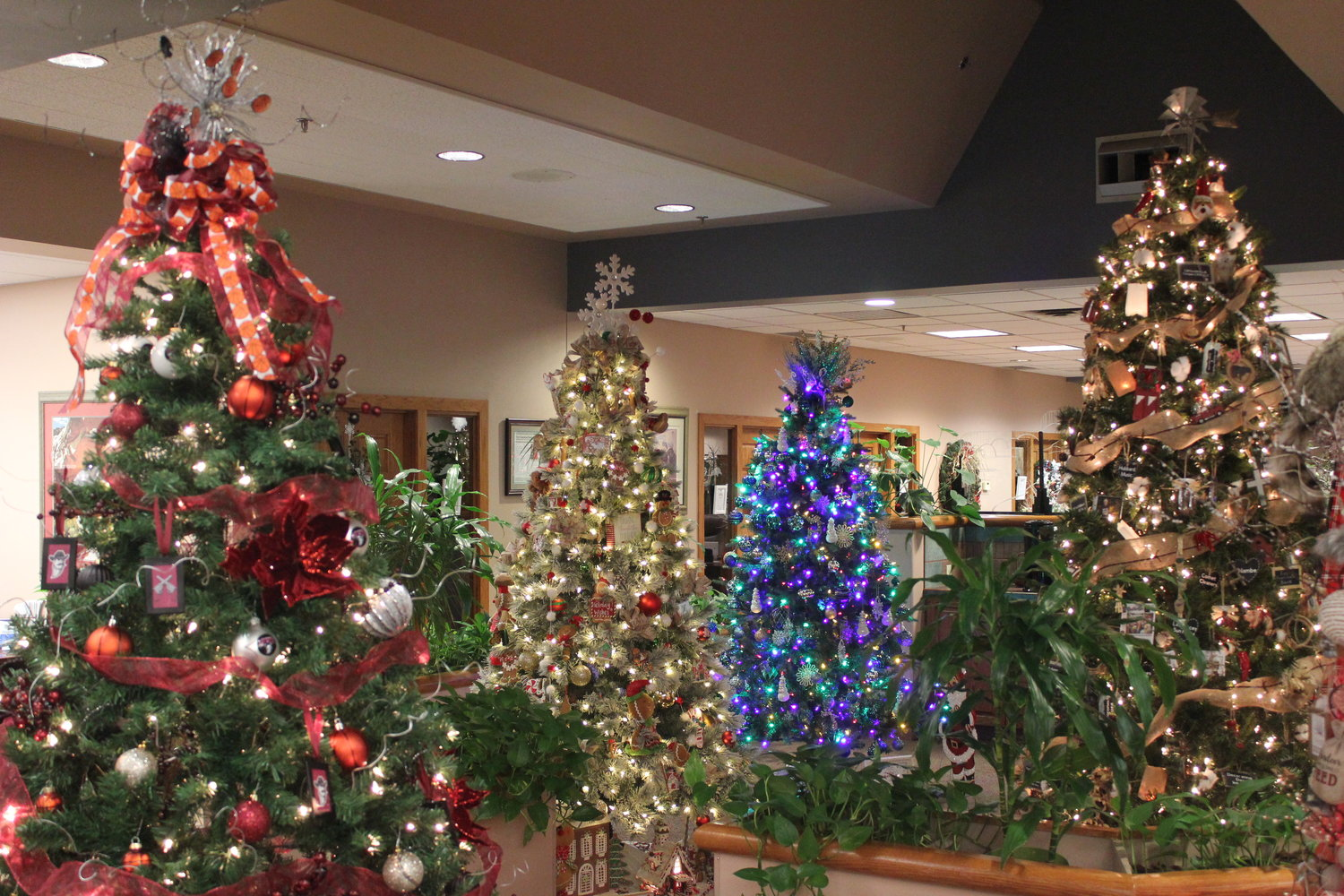 A variety of themed Christmas trees, decorated by community members, were on display at First American Bank Nov. 22, awaiting auction to benefit the Las Cruces Boys and Girls Club.