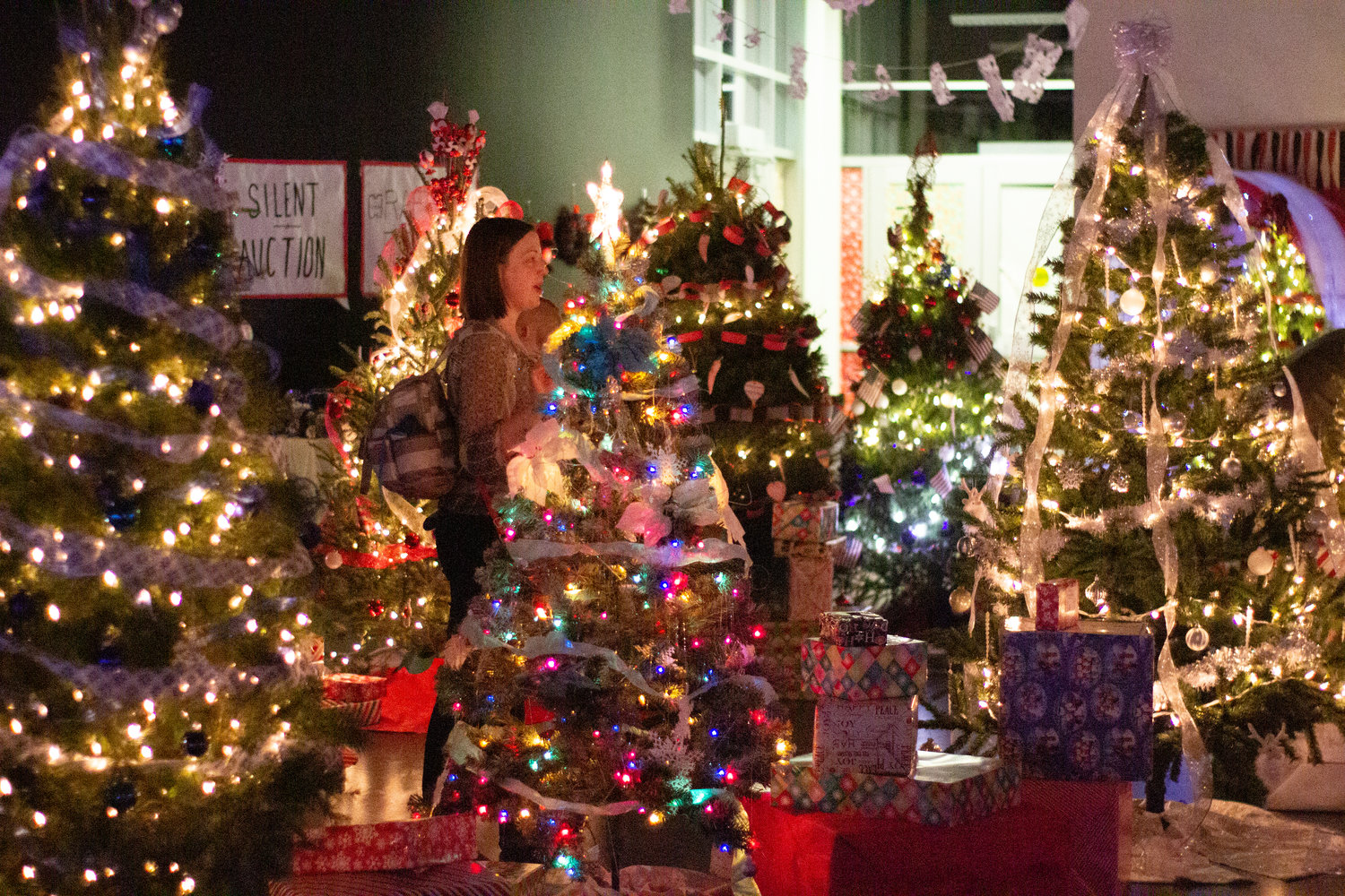 Several of the spectacular trees at the 2018 Festival of Trees at Centennial High School