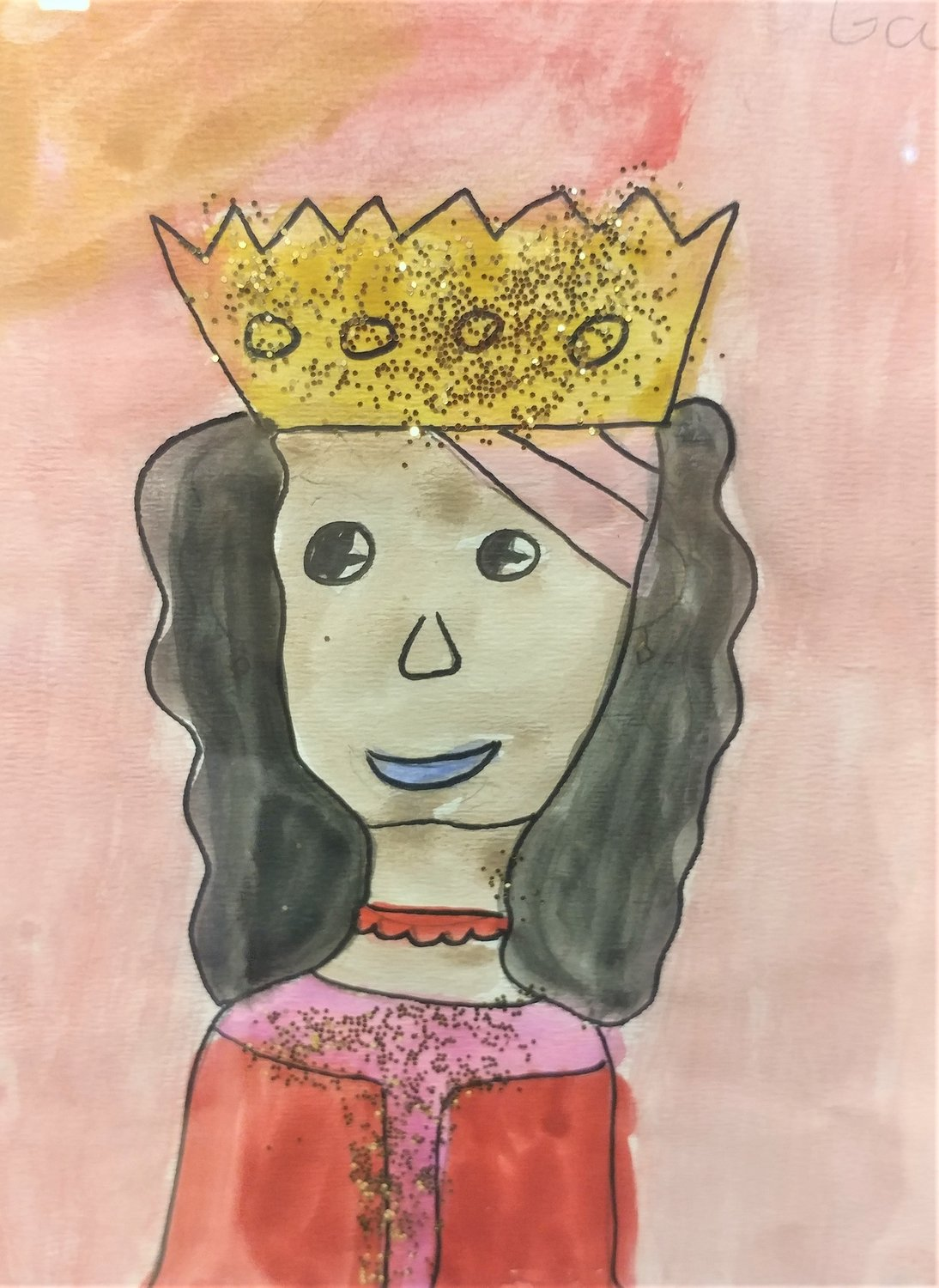 King and queen wax resist, by Amaria Garcia, second grader at Hermosa Heights Elementary School.