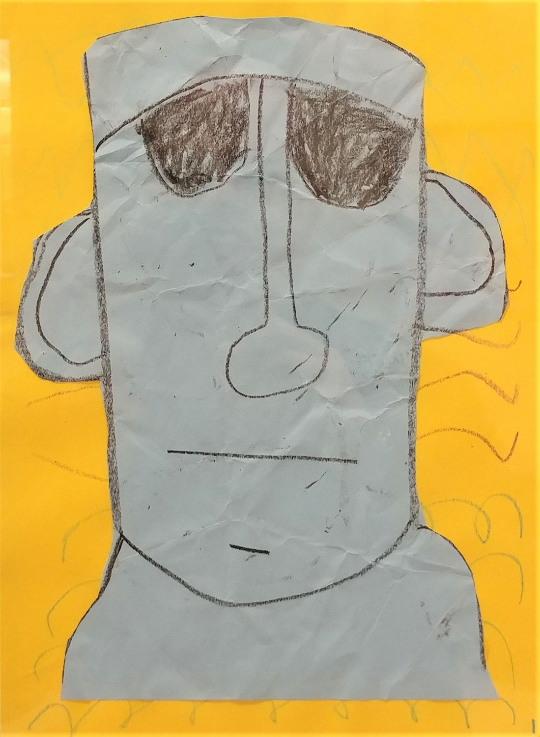 Easter Island Moai statute, by Ariana Ovale, first grader at Jornada Elementary School.