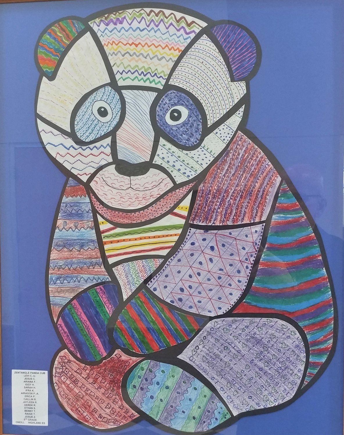 Zentagle Panda Cub, by Levi C.-U., Jesus C., Ariana F., Iggy H., Sarah H., Ifra K., Airagon P.-A., Erica P. Caillin R., Jayleen R., Derek R., Ethan S., Benny T., Raige T. and Josue Z., fifth graders at Highland Elementary School.