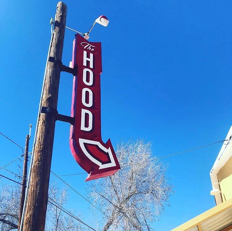 The sign pointing the way to The Hood.