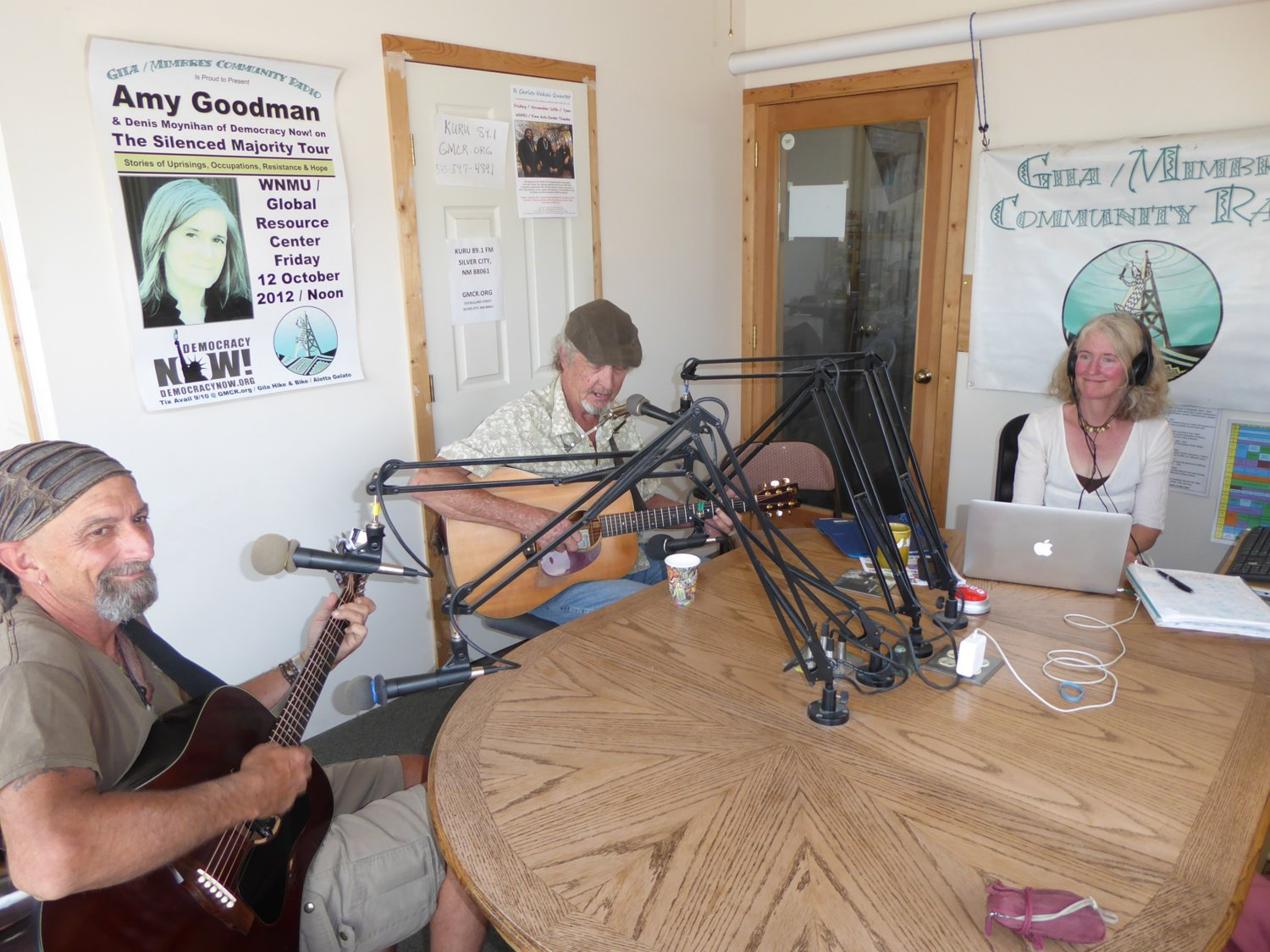 Tim Faust and Greg Renfro with Nan Franzblau at Gila Mimbres Community Radio (KURU) in Silver City during a 2018 fundraiser.