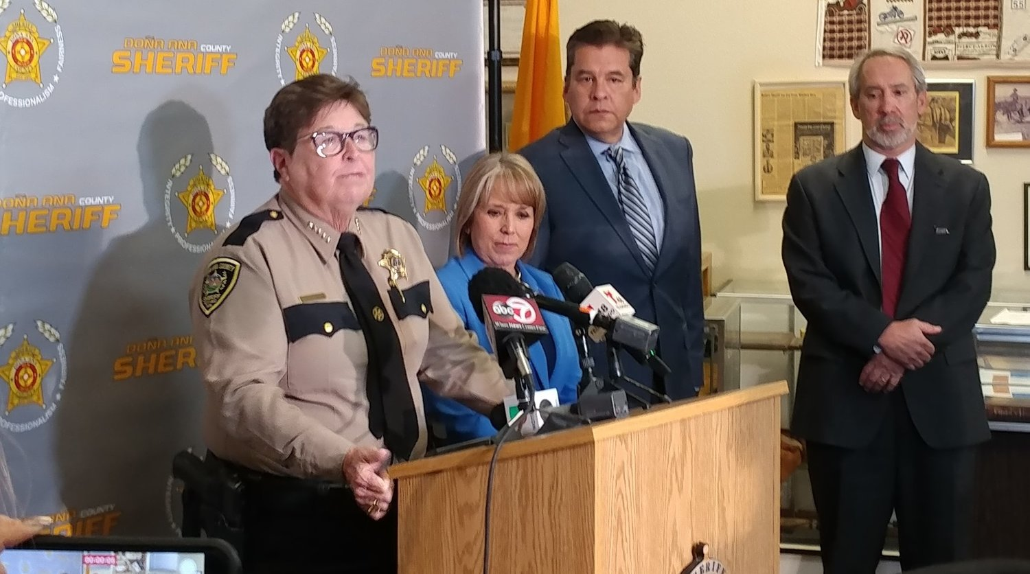 Left to right are Doña Ana County Sheriff Kim Stewart, Gov. Michelle Lujan Grisham, state Sen. Joseph Cervantes, D-Doña Ana, and state Rep. Daymon Ely, D-Bernalillo/Sandoval, at the county sheriff's office Wednesday, Jan 8.