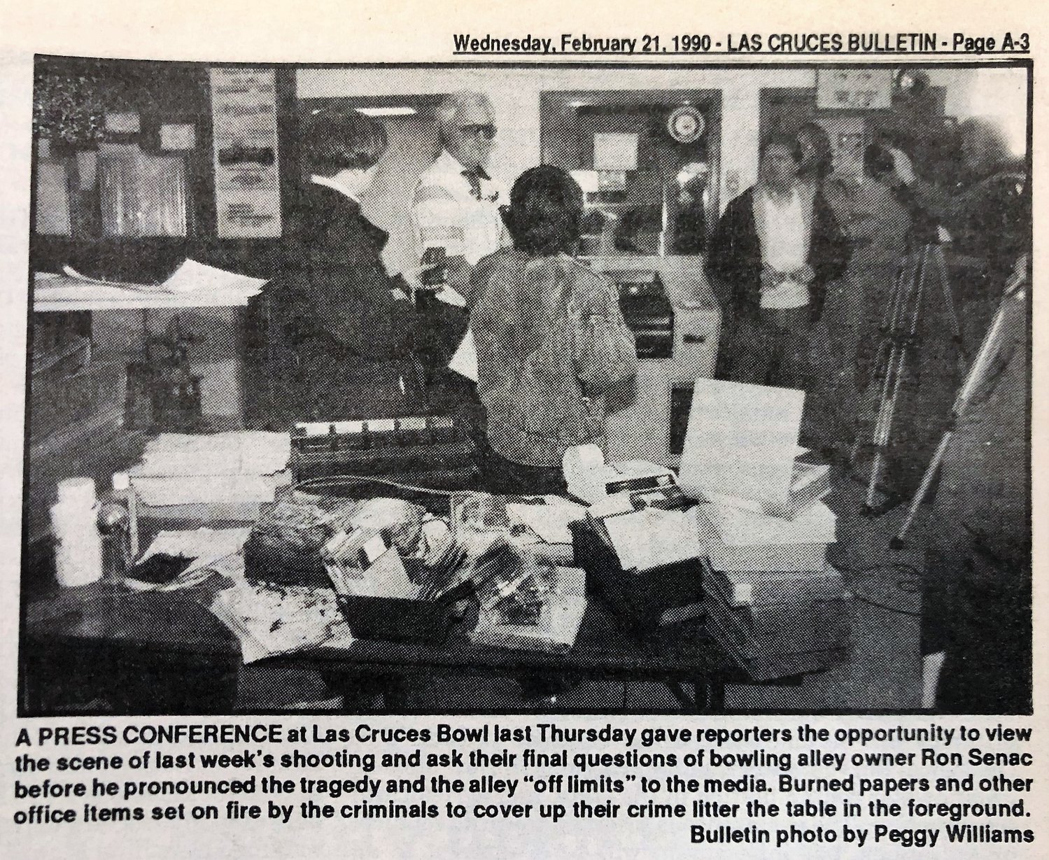 Las Cruces Bulletin Reporter Peggy Williams was on the scene during a press conference in 1990 following the bowling alley murders.