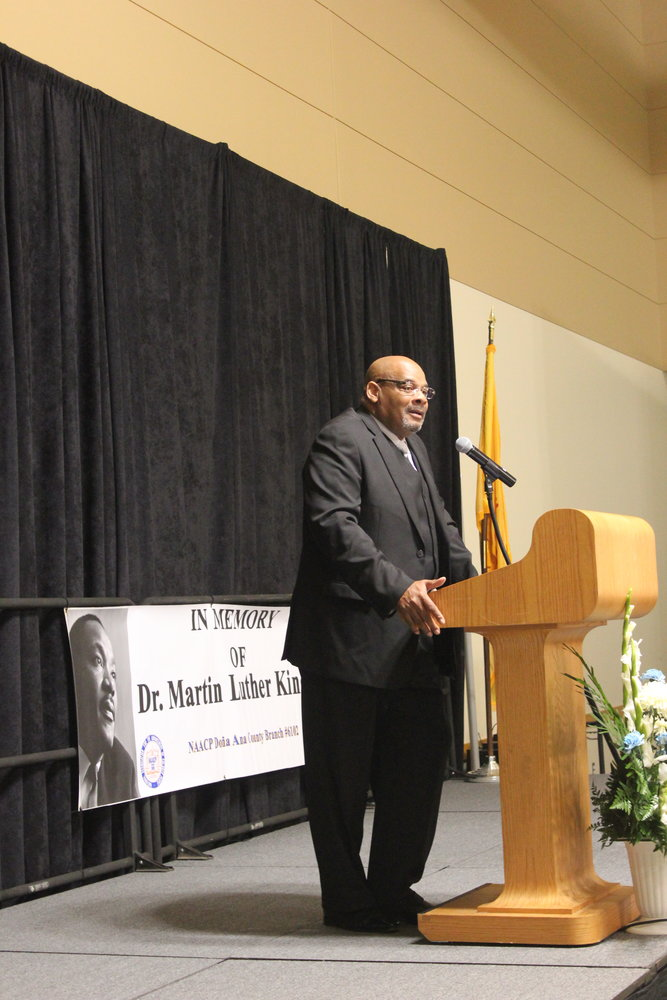 Pastor Michael Grady delivers the keynote address at the annual Doña Ana County NAACP Martin Luther King Jr. Celebration Monday, Jan. 20, at the Las Cruces Convention Center. Grady is pastor of the Prince of Peach Christian Fellowship Church in El Paso. His daughter, Michelle, is one of the 24 surviving victims of the El Paso Walmart shooting.
