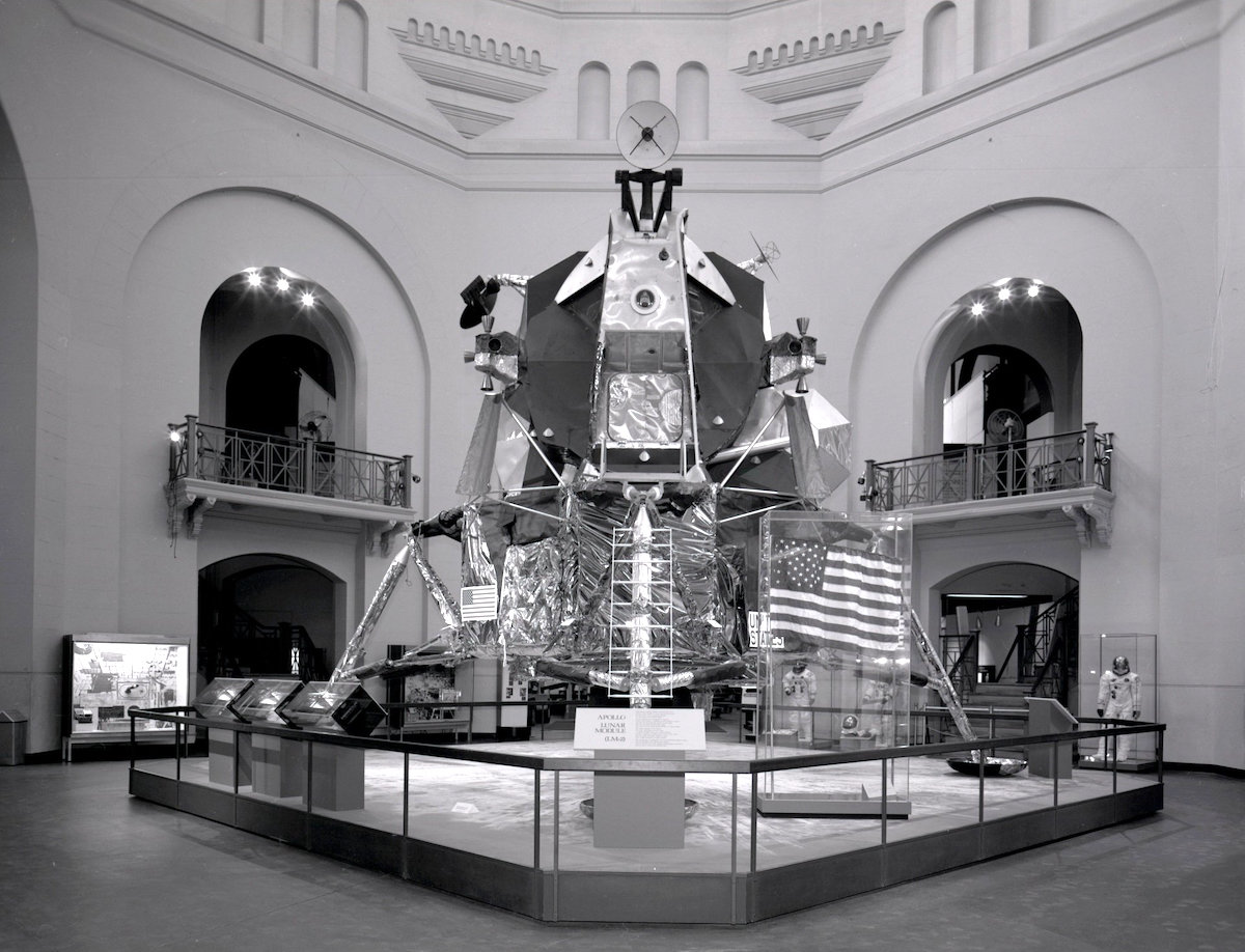 Apollo Lunar Module 2 (LM-2) holds a key spot in the rotunda of the Arts and Industries Building in the early 1970s.