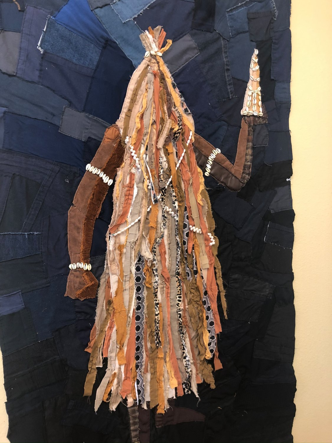 A textile creation collaboration with Galera and his partner Luis Filipe Feltrin depicting Obaluaê, an Orixá god of disease and healing.