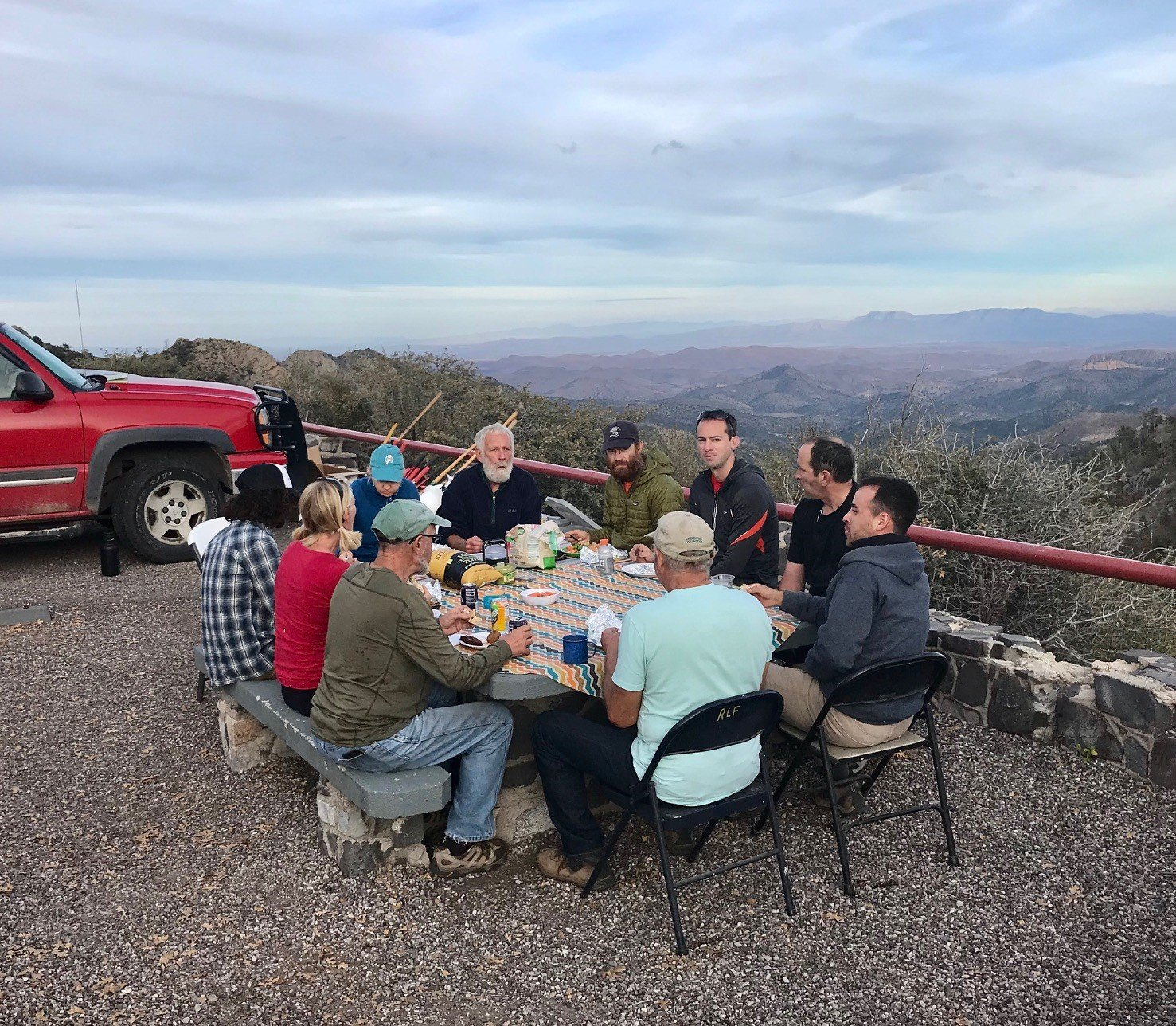 Dinner is served to volunteers after a long day working on the trail at Emory Pass.