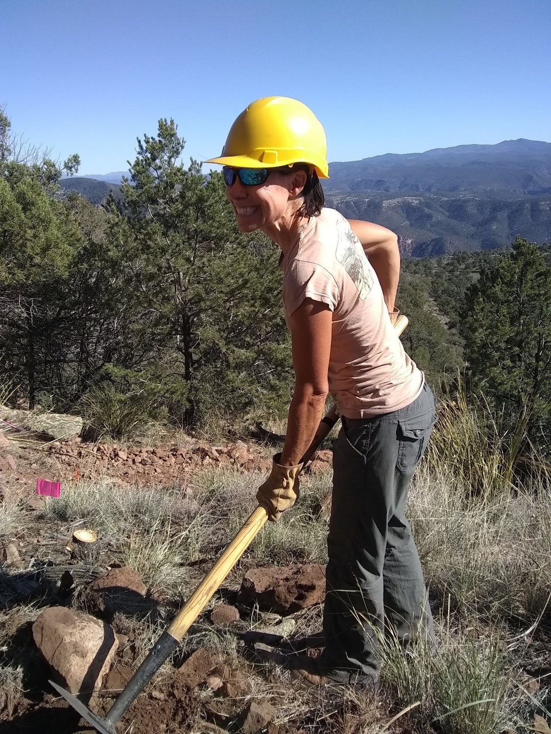 A volunteer from New Mexico Volunteers for the Outdoors Granny Mountain Trail Project.