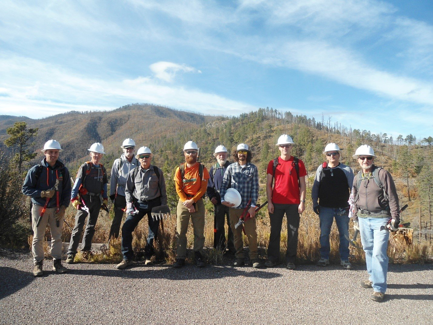 Volunteers from the Sawyer Peak Trail Project.  These volunteers worked on Trail No. 79 from Emory Pass to the Saddle below Sawyer Peak.