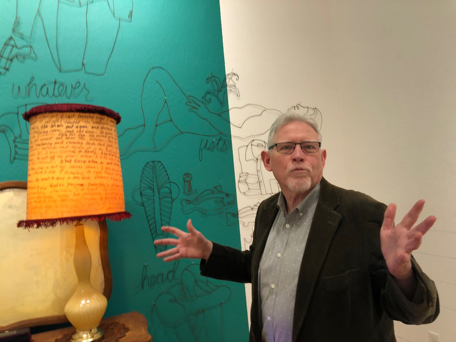 "Silver City artist Joel Armstrong talks about his installation art for the exhibit ""It's Time to Address'er Drawers"""