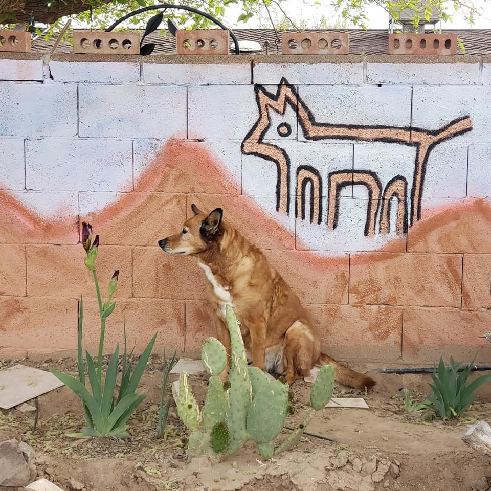 Art With Heart mural on a fence owned by Roy Covey is shown with his dog, Lil Wolfy.