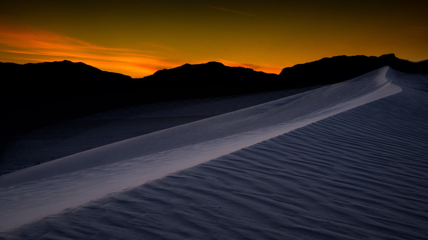 I pre-visualized this White Sands shot and only had to walk a few feet off the road to get it.