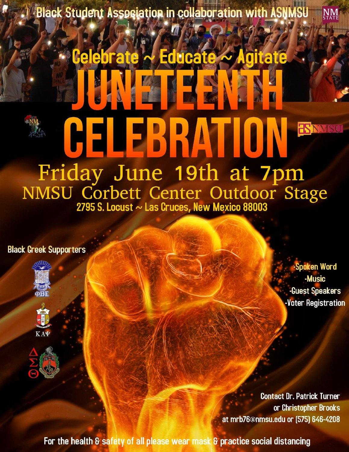 NMSU's Juneteenth celebration will focus on three things: celebrating, educating and agitating. The event will also have a call to action, telling people to vote and helping to register those who are not registered. The celebration will take place from 7 to 8:30 p.m. June 19 at the outdoor stage located at Corbett Center.