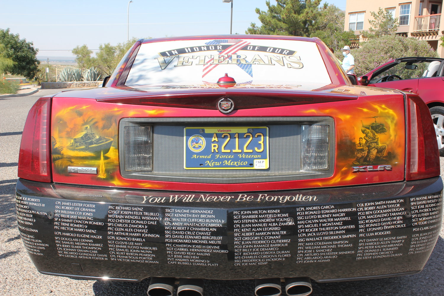 David Cheek's 2004 Cadillac includes the names of all of the southern New Mexico veterans who lost their lives in the Vietnam War.