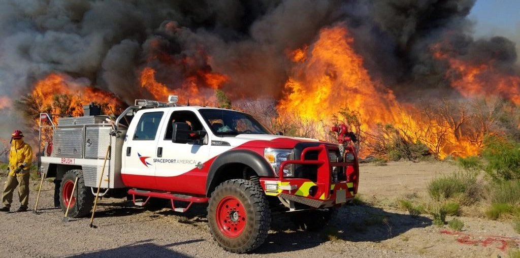 AeroVironment drones supported Spaceport America SAFE Team firefighters as they contained the Mims Lake Fire. The drones collected data and mapped the area of the wildfire. Image attached is of the SAFE Team Brush truck on Saturday, June 21.