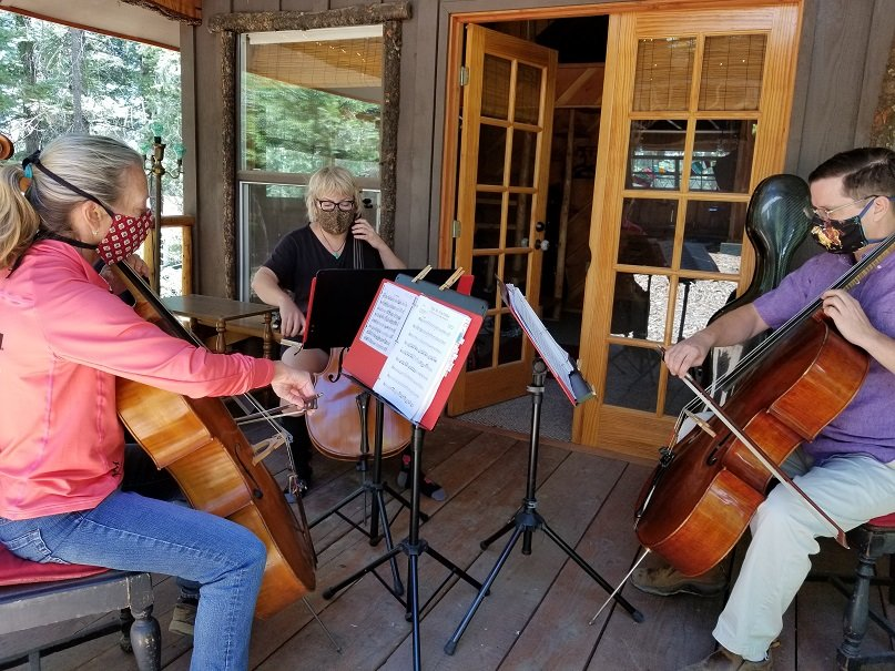 "The Shady Pines garden in Cloudcroft is open July 6-10 and the musicians are practicing for the July 11 virtual concert presentation of ""All Those Cellos – A Virtual Quilt."""