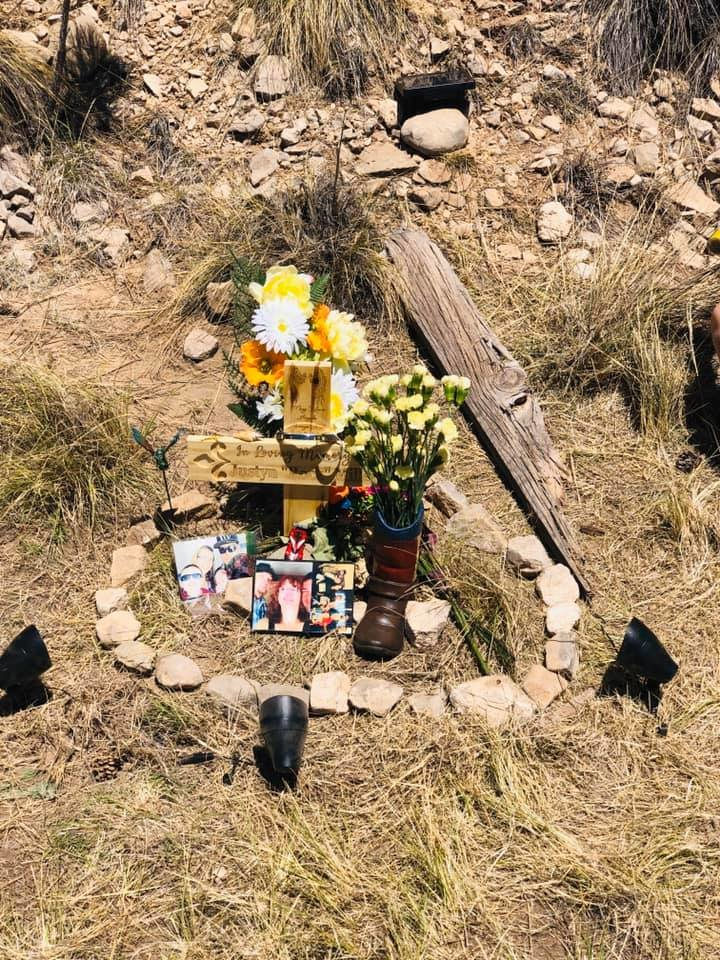 A roadside memorial dedicated to Justyn Miller who died on U.S. Highway 82 in April.