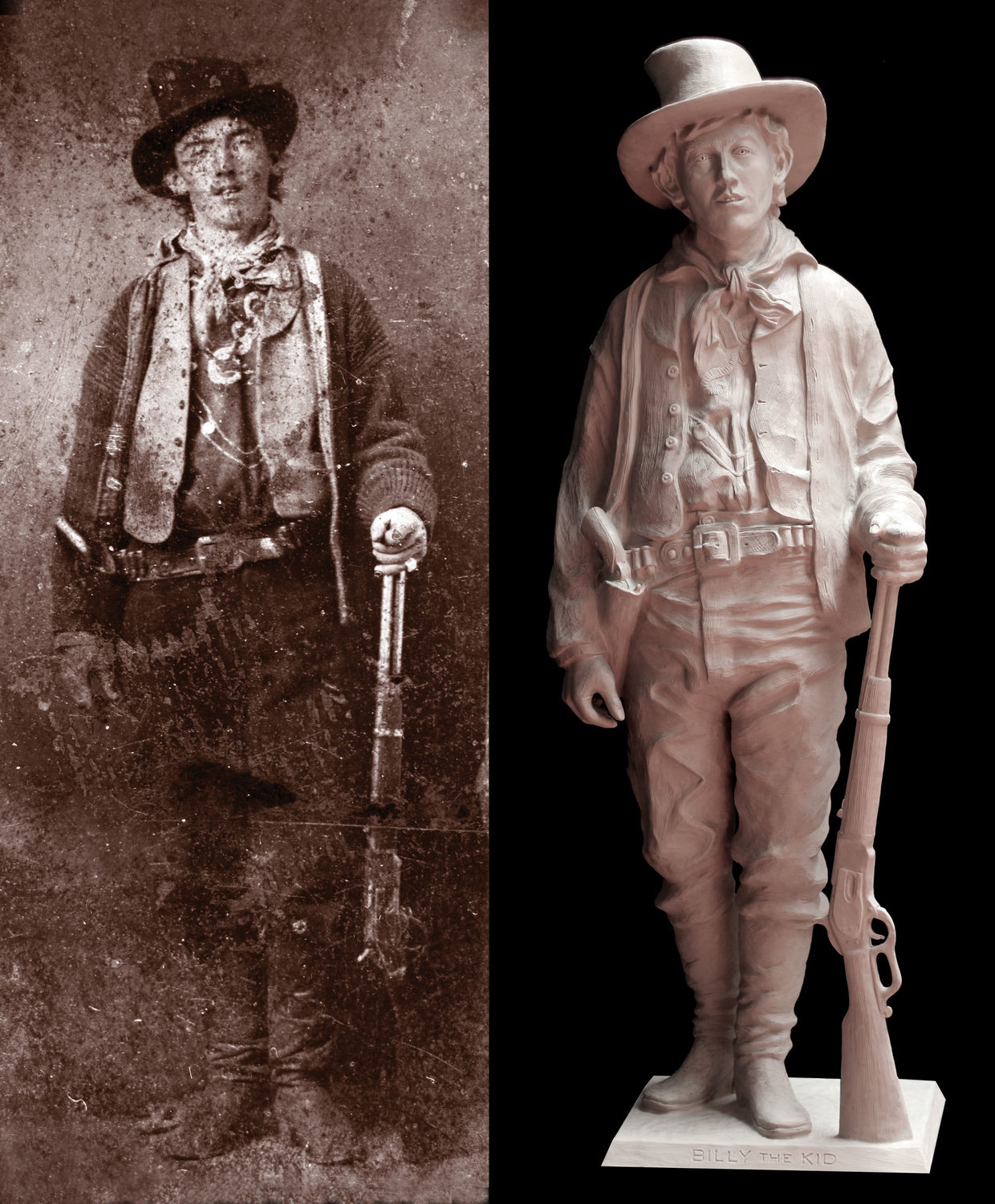 The original tintype of Billy the Kid and Diven.