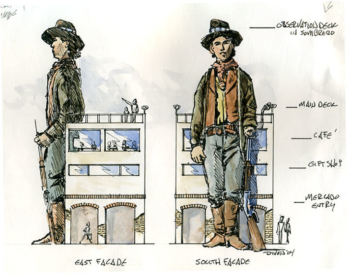 Bob Diven's drawing of the original plan for a 100-foot Billy the Kid statue in downtown Las Cruces