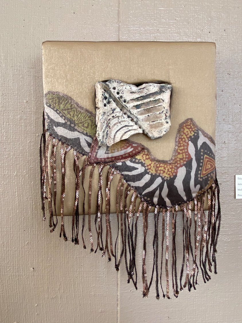 """Rising, by Potters' Guild of Las Cruces member Liz Fisher and fiber artist Christina Campbell won second place in the guild's ""Fire and Fiber United"" exhibit."