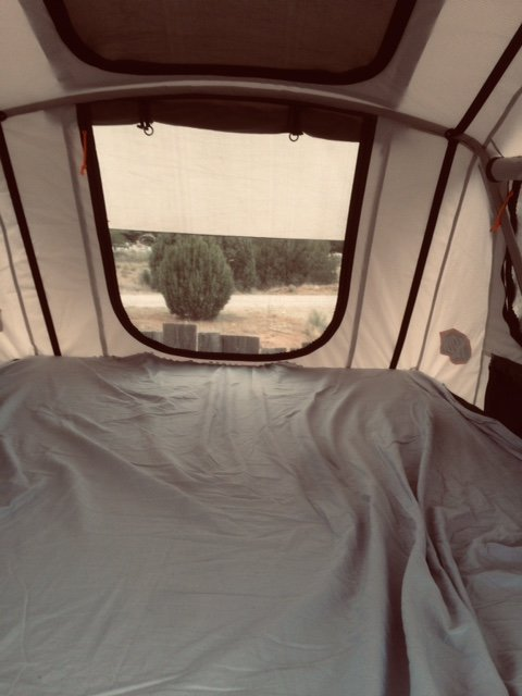 Looking out from inside the rooftop tent.