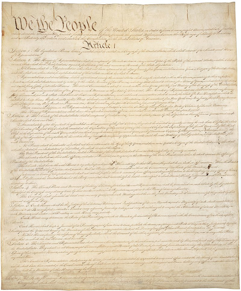 Page one of the original draft of the U.S. Constitution.
