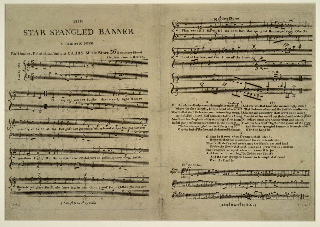 The earliest surviving copy of the National Anthem, from 1814.