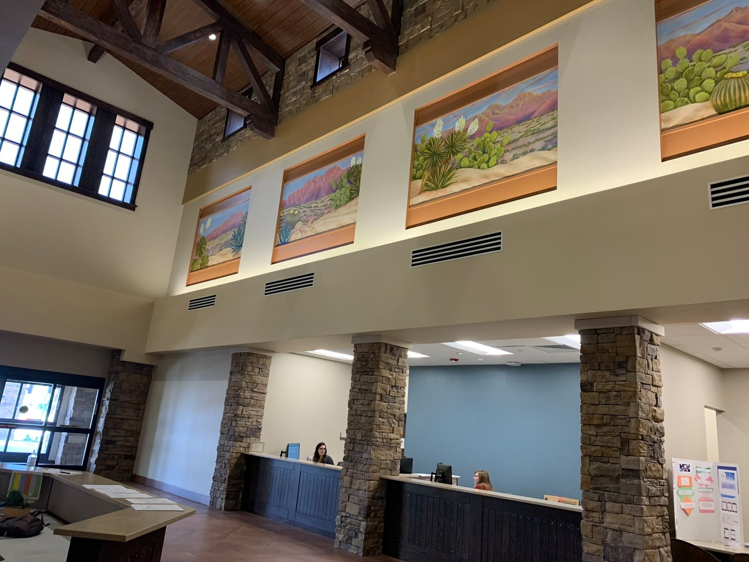 The entryway at Three Crosses Regional Hospital welcomes patients in a quiet stately way.