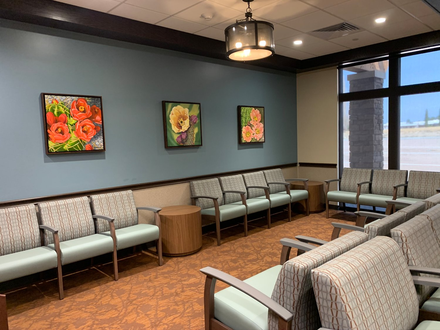 The outpatient lobby at Three Crosses Regional Hospital has its own entrance.