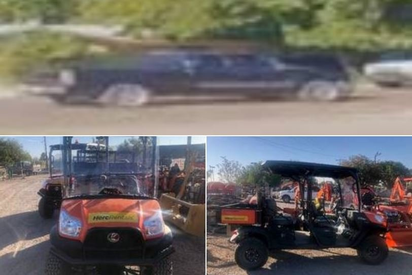 Photo of the suspect vehicle and a UTV similar to what was stolen.