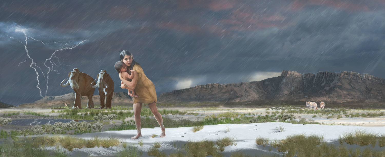On the shores of the ancient Lake Otero, a mother and child leave their footprints in this ice age landscape.