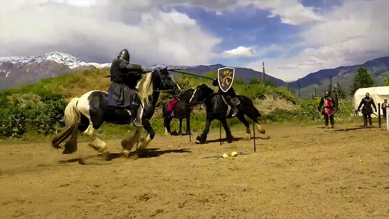 Order of Epona jousters from Fort Collins, Colorado, including Sir Jeremy Johnson on horseback at left