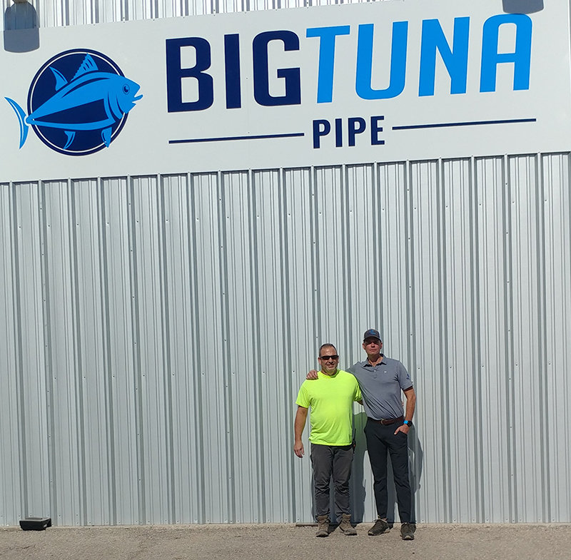Big Tuna Pipe President Scott Edwards, right, and Director of Operations Mike Watters at the Big Tuna facility in Las Cruces.