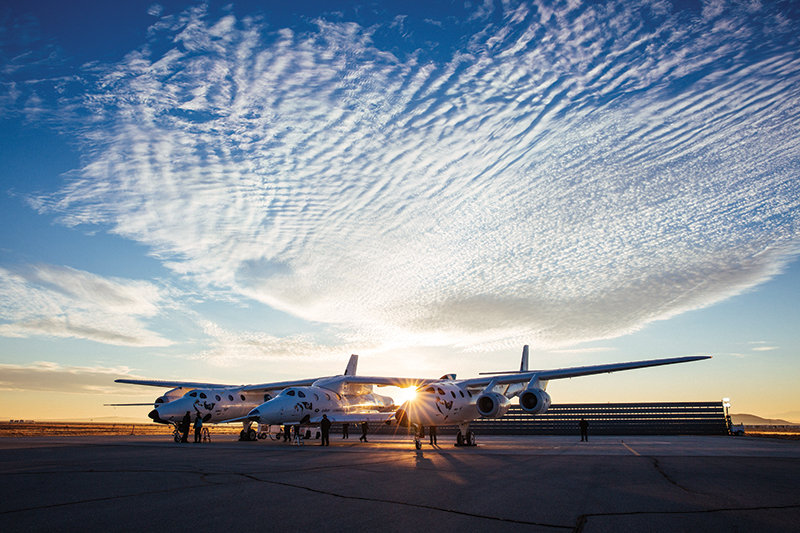 Virgin Galactic's carrier aircraft, VMS Eve and VSS Unity, prepare for flight
