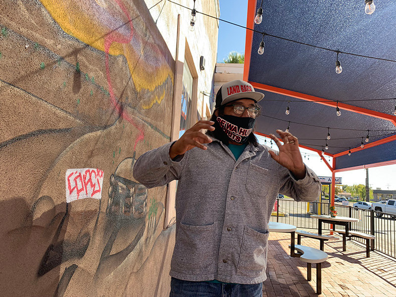 Artist Saba talks about his diverse mural going up on the wall at the Las Cruces taproom of T or C Brewing Company.