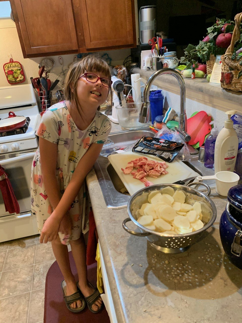 Danica White, a fourth grader at Fairacres Elementary School, made an entire German meal as part of teacher of the gifted Barb Ericson's project studying other cultures and countries, including Germany.