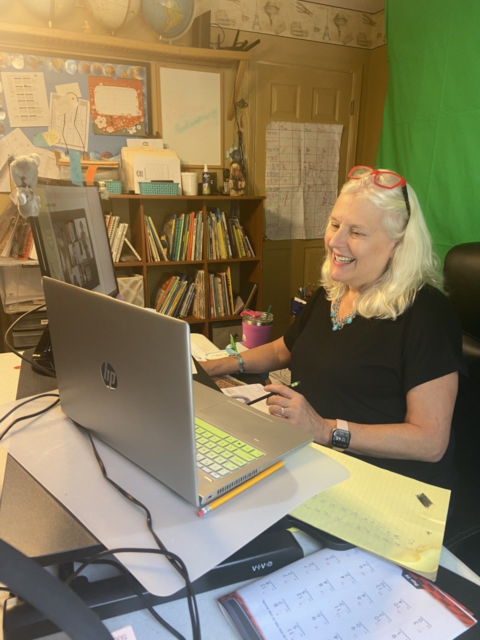 "Doña Ana and Fairacres elementary schools teacher of the gifted Barb Ericson bought a green screen, a standing desk, a ring light and an additional monitor to teach classes via Zoom. ""All of those things really help me out."