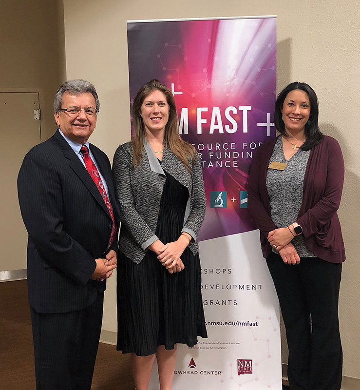 From left, New Mexico Small Business Administration (SBA) District Office Director John Garcia, SBA Office of Innovation and Technology Senior Innovation Policy Adviser Brittany Sickler and New Mexico State University Arrowhead Center Strategic Operations and Small Business Innovation Research Program Director Dana Catron.