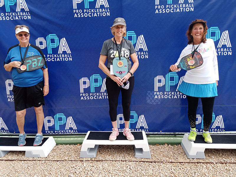Las Cruces pickleball player Laura Smart, right, won silver in women's singles 70-plus 3.0 at the PPA Grand Slam in Phoenix Feb. 16.