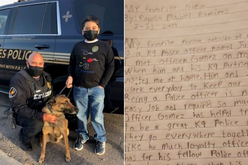 Rogelio Daniel Ramirez and Las Cruces Police Department K-9 officer Juan Gomez and his four-legged partner, Joker.