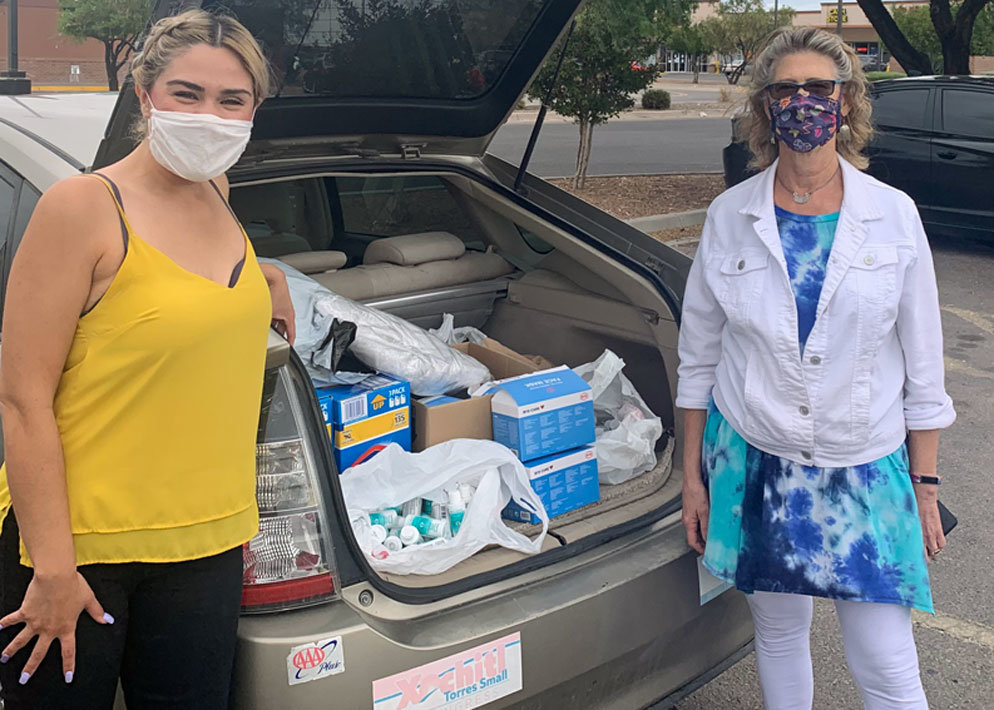 Barbara Gabioud (right) gathers supplies for people in need across the border. She will be co-moderator for the Border Justice Lunch and Learn event on April 24.