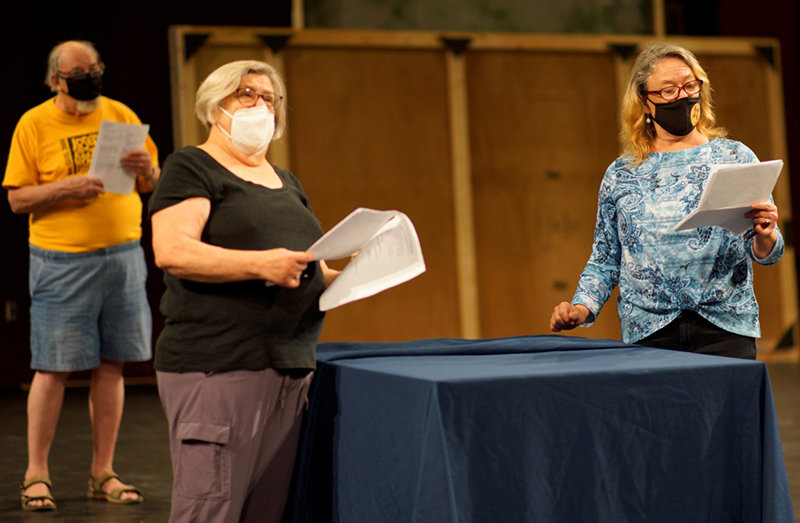 "Left to right are community actor Doug Abbott, NMSU Theatre Department Professor Claudia Billings and community actor Nancy Clein Tafoya rehearsing a scene from ""Merry Wives of Windsor."""