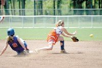 Stephanie Lee of Gulfport makes the attempt to force out a Patriots' base-runner at second.