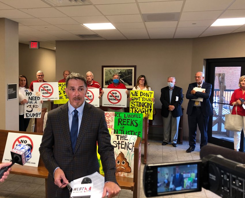 Ron Farris, an attorney representing a group opposed to a third landfill, speaks to reporters prior to Monday's meeting of the Madison County Board of Supervisors. Attorneys for the landfill were scheduled to make a request Monday, but later withdrew the request.