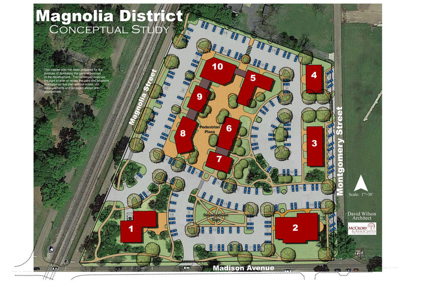 This conceptual map shows what the Magnolia District will look like once construction of the different buildings is completed.