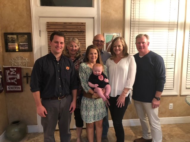 "Donald, Sarah and Walker Wilbanks ""Banks"" Thornbury. In back, Sarah's parents, Steve and Liz Novotny, along with David and Sheila Wilbanks."