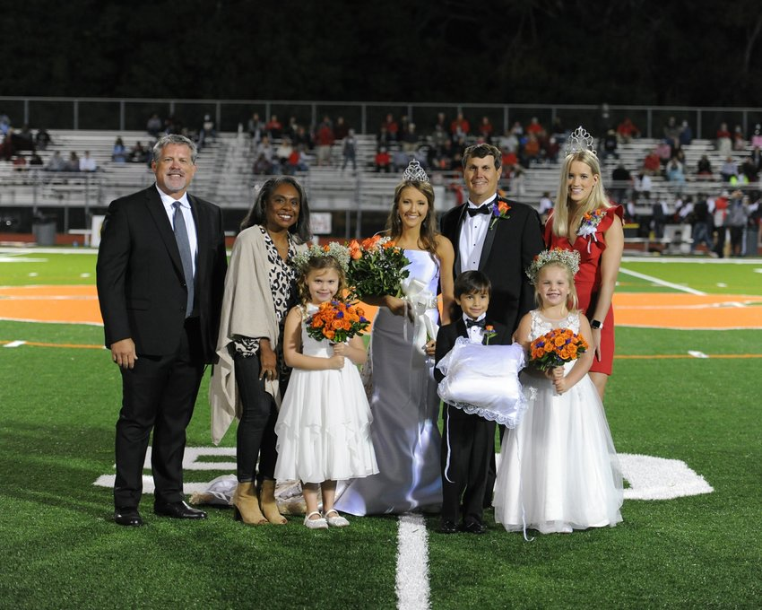 Madison Central High School 2020 Homecoming queen was crowned Friday, Oct. 2. First row, left to right: Mary Claire Runnels, Neil Bennett and Ellis Finley. Back row, left to right are: MCHS Principal Sean Brewer, Madison County School District Superintendent Charlotte Seals, 2020 Homecoming Queen Anna Kay Bumgarner, her father Brad Bumgarner and 2019 Homecoming Queen Allison Hill. To view the entire 2020 Madison Central Homecoming Court.