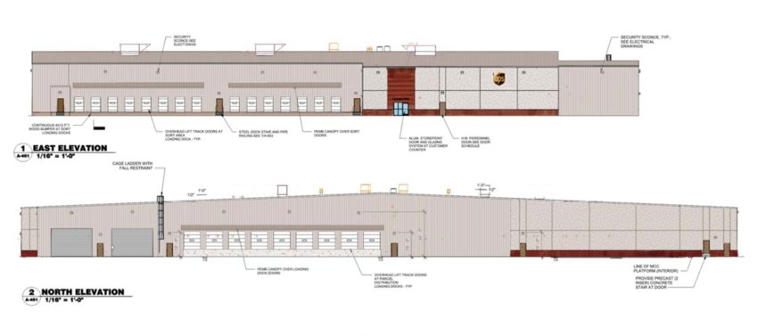 Renderings of the proposed UPS facility in Ridgeland